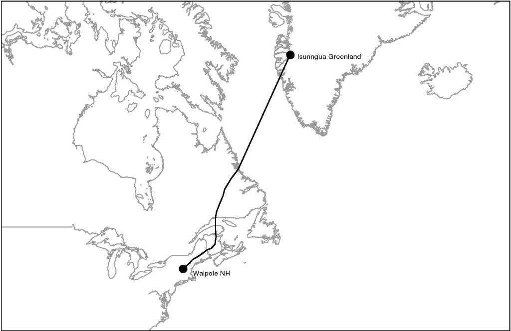 Likely GJN track to Greenland based on banding recoveries.