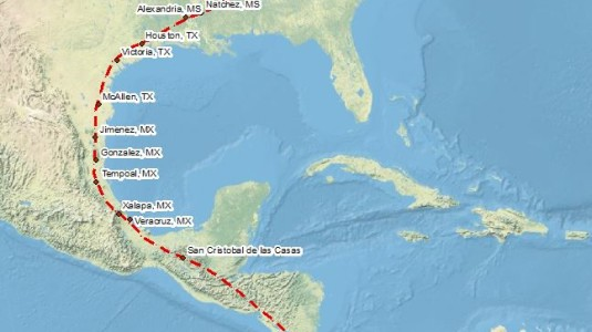Route from NH to Bogota